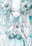 ballpoint_pen_(medium) blue_eyes charmal color_ink_(medium) copyright_request green_hair jewelry long_hair nail_polish ribbon ring sad solo traditional_media