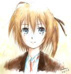 blue_eyes brown_hair dated highres kem_kem konoe_subaru long_hair mayo_chiki! signature smile solo