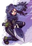 1girl apex_legends artist_name bangs black_bodysuit black_footwear black_scarf bodysuit boots dust electricity floating_hair hair_bun highres holding holding_knife knife kunai looking_at_viewer open_hand parted_bangs purple_hair scarf solo squatting twitter_username v-shaped_eyebrows violet_eyes weapon wraith_(apex_legends) xin_(xin24)