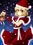 alice_margatroid alternate_costume blonde_hair blue_eyes blush box capelet doll gift gift_box hat highres horns ikmg matching_shanghai open_mouth red_eyes reindeer_antlers santa_costume santa_hat shanghai_doll smile snowing solo touhou