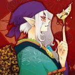 earrings facial_mark fingernails grey_hair headband japanese_clothes jewelry kumoya_yukio kusuriuri_(mononoke) long_fingernails long_hair male mask mononoke nail nail_polish pointy_ears profile purple_eyes purple_nails solo