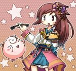 1girl =_= blush_stickers brown_eyes brown_hair hagino_chiyoko holding holding_spoon japanese_clothes jigglypuff lowres nobunaga's_ambition nobunaga_no_yabou object_namesake oichi oichi_(pokemon_+_nobunaga_no_yabou) oichi_(sengoku_musou) payot poke_ball poke_ball_theme pokemon pokemon_(creature) pokemon_(game) pokemon_+_nobunaga's_ambition pokemon_+_nobunaga_no_yabou ponytail pudding pun sengoku_musou skirt spoon star starry_background