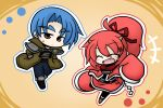 blue_hair brown_eyes chain chains chibi closed_eyes eyebrows eyes_closed hair_ribbon hands_in_pockets horns jacket open_mouth pixiv_fantasia pixiv_fantasia_wizard_and_knight ponytail red_hair redhead ribbon scarf sleeves_past_wrists smile yanagi_(artist) yanagi_(nurikoboshi)