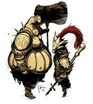 armor dark_souls david_semsei dragon_slayer_ornstein executioner_smough hammer multiple_boys polearm red_hair redhead spear weapon