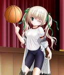 balancing balancing_basketball basketball bike_shorts blonde_hair blue_eyes dress green_eyes gym_uniform hair_ribbon long_hair misawa_maho mushoku_no_hourousha open_clothes ribbon ro-kyu-bu! rou-kyuu-bu! school_uniform smile solo twintails undressing wink
