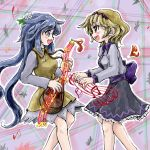 2girls bare_legs biwa_lute blue_eyes blue_hair bow breasts brown_eyes eye_contact flower hair_flower hair_ornament headband instrument layered_dress light_brown_hair long_hair long_sleeves looking_at_another lute_(instrument) multiple_girls musical_note musical_staff nanashii_(soregasisan) open_mouth profile purple_background ribbon striped striped_background touhou tsukumo_benben tsukumo_yatsuhashi