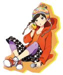 1girl food freckles fruit hat hoodie leggings microphone orange original shoes sitting sneakers solo star_print