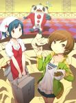 2girls blue_hair bowl brown_eyes brown_hair checkered checkered_floor chopsticks eating food food_delivery_box food_on_face furumiya_haiji gyuudon head_scarf highres jewelry kuma_(persona_4) multiple_girls nakamura_aika necklace persona persona_4 satonaka_chie short_hair