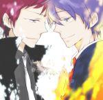 blue_hair fire formal glass green_eyes ichino_(artist) jacket mawaru_penguindrum necktie red_hair redhead school_uniform smile spoilers takakura_kanba takakura_shouma