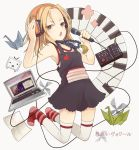 amri bad_id beads blonde_hair computer footwear headphones instrument jewelry keyboard_(instrument) kyouyama_anna laptop microphone necklace open_mouth origami paper_crane prayer_beads shaman_king socks solo synthesizer thigh-highs thighhighs