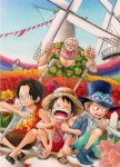 1girl 4boys arm_hug basket black_hair boots brothers bush closed_eyes dutch_angle eyes_closed finger_to_mouth flower freckles goggles hat ladybug makino makino_(one_piece) monkey_d_garp monkey_d_luffy multiple_boys old_man one_knee one_piece open_mouth pipe portgas_d_ace sabo_(one_piece) sandals scar siblings sitting smile squatting straw_hat t-shirt tongue top_hat white_hair windmill wooden_fence young