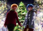 2boys angel_beats! blue_hair brown_hair christmas_tree hinata_(angel_beats!) managi multiple_boys otonashi_(angel_beats!) short_hair winter_clothes
