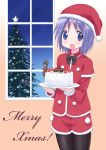 cake christmas christmas_tree food hiiragi_tsukasa isou_nagi izumi_konata lucky_star minigirl pantyhose purple_hair santa_costume short_hair shorts window