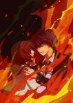 blue_hair brown_hair couple dengshuyu fire formal green_eyes hands_on_another's_chest hands_on_another27s_chest jacket mawaru_penguindrum necktie oginome_ringo school_uniform short_hair spoilers takakura_shouma tears