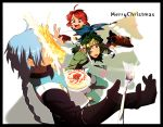armor blue_hair cake christmas christmass food fork fruit gloves green_hair koredemoka male mao_(tor) merry_christmas multiple_boys ponytail red_hair redhead serori_(koredemoka) strawberry tales_of_(series) tales_of_rebirth tytree_crowe veigue_lungberg