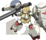 1girl bazooka blonde_hair drill_hair gun gundam gundam_0083 gundam_gp-02_physalis highres mahou_shoujo_madoka_magica mecha_musume parody ribbon shield solo tomoe_mami twin_drills weapon yellow_eyes zinger_(excess_m) zzinzinz