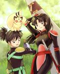 1girl armor artist_request bird bodysuit brother_and_sister brown_eyes brown_hair grass heart inuyasha katana kirara kirara_(inuyasha) kohaku_(inuyasha) mocha_y multiple_tails on_head ponytail sango sheath sheathed siblings sword tail weapon