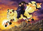 1girl 2004 armor closed_eyes cloud devikuro evening eyes_closed fangs fire flying fur holding inuyasha japanese_clothes kirara kirara_(inuyasha) miroku mountain multiple_tails ponytail red_eyes riding sango signature sky sun sunset tail twilight watermark