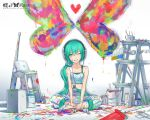 2d alternate_hairstyle aqua_eyes aqua_hair butterfly color colorful grin hatsune_miku headphones heart indian_style ladder long_hair overalls paint paint_bucket paint_splatter paint_stains paintbrush painting ponytail sitting smile solo vocaloid wink