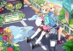 back-to-back back_to_back ball bird blonde_hair blue_eyes boots bow ei_(pakirapakira) hair_bow helmet jacket jin_young-in kagamine_len kagamine_rin legs map motor_vehicle motorcycle over-kneehighs puddle rainbow shorts siblings star thigh-highs thighhighs traffic_light traffic_lights twins vehicle vocaloid water