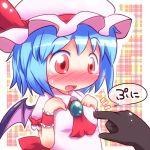 bad_id bat_wings blue_hair blush breast_poke fang poke poking red_eyes remilia_scarlet touhou wings
