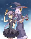black_santa_costume card cards doll dress earrings hat holding holding_card jewelry long_hair moon ponytail purple_hair santa_costume shirayuki_usami skull star stella_(trickster) trickster voodoo_doll witch witch_hat witch_la_befana_(trickster) yellow_eyes
