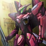 brera_sterne gun hangar highres macross macross_frontier mecha rifle shield vf-27 weapon