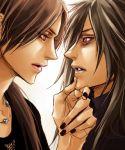 2boys black_hair lily_(artist) nail_polish naruto necklace red_eyes uchiha_itachi uchiha_madara yaoi