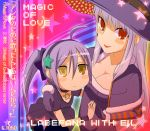 ahoge album_cover blush chibi cover dress hairband hat heterochromia jewelry long_hair multiple_girls necklace ponytail purple_hair shirayuki_usami star stella_(trickster) trickster witch witch_hat witch_la_befana_(trickster)