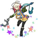 airking bad_id multicolored_hair pascal pointing red_hair redhead scarf staff standing_on_one_leg star starry_background tales_of_(series) tales_of_graces two-tone_hair white_background white_hair