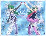 artist_request boots bracelet dual_persona frown green_eyes green_hair jewelry knee_boots long_hair mitsumi_(pokemon) poke_ball pokemon pokemon_diamond_&_pearl_adventures ponytail scarf skirt smile spoilers team_galactic