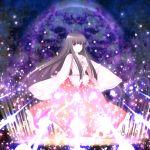 bow branch danmaku houraisan_kaguya japanese_clothes jeweled_branch_of_hourai long_hair magic_circle red_eyes sanotsuki star touhou