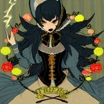 bonnet bow breasts cleavage corset dress electricity fangs flower l_hakase large_breasts long_hair long_sleeves luxio luxray personification pink_rose pokemon red_rose rose solo spiked_hair yellow_eyes yellow_rose