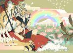 animal_ears bird black_hair cat cat_ears cloud clouds flower honya_lala male oriental_umbrella rainbow sky smile solo tiger umbrella