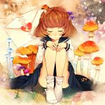 brown_hair closed_eyes heart letter love_letter mushroom original school_uniform serafuku sitting skirt socks tears wakatsuki_you