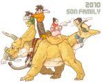 boots chichi cup dinosaur dragon_ball dragon_ball_z dragonball_z earmuffs family highres makumaku mug picnic_basket scarf son_gohan son_gokuu son_goten spiked_hair triceratops