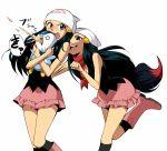 beanie black_hair blue_eyes blush boots cosplay hair_ornament hairclip hat hikari_(pokemon) hikari_(pokemon)_(cosplay) hirococo hirococo_(hakka) illusion_(pokemon) multiple_girls piplup pokemon pokemon_(anime) pokemon_(game) pokemon_diamond_and_pearl pokemon_dppt scarf skirt tail vomit zorua