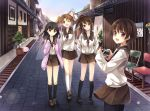 :d arms_behind_back bad_id black_hair black_legwear bow brown_eyes brown_hair camera chair cloud flower hagiwara_rin hair_bow hanawa_kaoru kneehighs long_hair looking_at_viewer looking_back multiple_girls okazaki_norie open_mouth pantyhose ponytail poster poster_(object) ribbon sakurada_maon sawatari_fuu school_uniform short_hair skirt sky smile tamayura twintails walking waving white_legwear wink