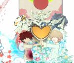 bags_under_eyes blood bloody_clothes brown_hair closed_eyes eyes_closed flower heart mecha mononoke_(empty) monster multiple_boys open_mouth original palms_together red_eyes teeth tire_track