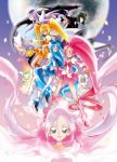 blonde_hair blue_eyes blue_hair chypre_(heartcatch_precure!) coffret_(heartcatch_precure!) cure_blossom cure_marine cure_moonlight cure_sunshine dark_precure full_moon green_hair hanasaki_tsubomi heartcatch_precure! instrument kurumi_erika lavender_hair long_hair magical_girl michi_ta_(masquerade) moon mugen_silhouette multiple_girls myoudouin_itsuki petals pink_eyes pink_hair ponytail potpourri_(heartcatch_precure!) precure shiny_tambourine short_hair single_wing tambourine tsukikage_yuri twintails wings yellow_eyes