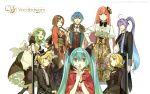 ahoge aqua_hair ascot black_dress blonde_hair blue_hair boots bow bowtie bracelet brown_hair butler capelet chair choker coat earrings fan formal frills fur_coat gactpoid gakupo gloves gradient_hair green_hair group gumi hair_bow hair_clip hair_flower hand_over_mouth hatsune_miku hidari japanese_clothes kagamine_len kagamine_rin kaito kamui_gakupo kimono lace long_skirt maid maid_headdress maid_uniform megpoid megurine_luka meiko mini_top_hat nail_polish neck_ribbon necktie obi pink_hair ponytail purple_hair sitting suit tailcoat vocaloid wallpaper white wide_sleeves wink