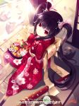 black_hair bow closed_umbrella cup door easy_(easycrew) flower food from_above green_tea hair_flower hair_ornament hair_ribbon holding japanese_clothes kimono kooh leaf long_hair looking_at_viewer obentou obi pangya patterned pillar red_eyes ribbon rock signature sitting smile snow solo teacup tray turning twintails umbrella watermark web_address wooden_floor