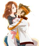 1girl adult brown_hair couple endou_mamoru grin hug inazuma_eleven inazuma_eleven_(series) inazuma_eleven_go kanotsuki_(haikagura) long_hair raimon_natsumi short_hair smile white_background