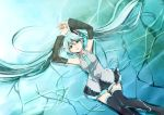aqua_eyes aqua_hair arms_up detached_sleeves hatsune_miku hirococo hirococo_(hakka) long_hair lying necktie skirt solo thigh-highs thighhighs twintails very_long_hair vocaloid water