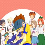 5boys blue_eyes blue_hair blush braid brown_hair endou_mamoru green_eyes hair_ornament hair_ribbon hakuryuu_(inazuma_eleven) hug inazuma_eleven inazuma_eleven_(series) inazuma_eleven_go lightning_bolt long_hair matsukaze_tenma multiple_boys multiple_girls open_mouth purple_eyes raimon red_hair redhead ribbon school_uniform seto_midori short_hair shuu_(inazuma_eleven) sleeves_rolled_up smile soccer_uniform sorano_aoi violet_eyes zero_(inazuma_eleven) zubora106