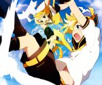 blonde_hair blue_eyes detached_sleeves falling hirococo hirococo_(hakka) kagamine_len kagamine_rin shorts siblings sky twins vocaloid