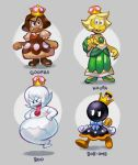 ballooncar bob-omb boo boots bow brown_dress character_name dress eyelashes fuse gloves goomba grey_background highres koopa mario_(series) nintendo simple_background super_crown tongue tongue_out walking white_eyes white_gloves