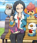 1boy apple bench black_eyes black_hair character_request cheren_(pokemon) city cityscape ducklet ducklett fence food fruit glasses holding holding_apple holding_fruit male oshawott outdoors pansear pidove pokedex pokemoa pokemon pokemon_(creature) pokemon_(game) pokemon_black_and_white pokemon_bw purrloin roggenrola sitting