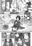 1girl blush comic flower furono_(fuloru) giant goggles hanji_zoe jacket kiss levi_(shingeki_no_kyojin) monochrome rose shingeki_no_kyojin short_hair thigh_strap titan_(shingeki_no_kyojin) translation_request