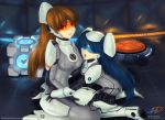 aperture_science_handheld_portal_device atlas_(portal) blue_eyes blue_hair bodysuit breasts genderswap highres lipstick long_hair makeup multiple_girls open_mouth orange_eyes orange_hair p-body personification ponytail portal portal_2 skin_tight twintails visor wasudo weighted_companion_cube